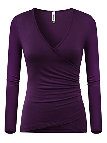 - Beauhuty Women's Top Deep V Neck Slim Fitted T-Shirt Front Criss-Cross Wrap Short Sleeve Tees (L, Long-Purple)