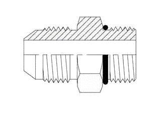 Brennan 6400-06-04-O Steel JIC Flared Tube Fitting, Straight, 3/8'' Tube OD JIC Male x 7/16-20 Male Straight Thread O-Ring Boss