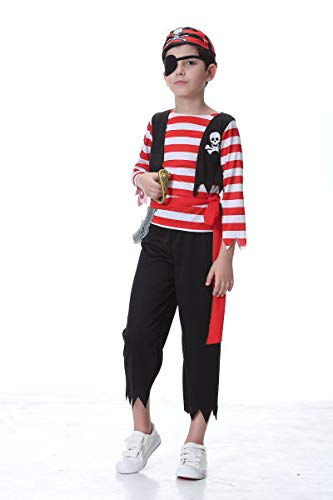 yolsun Kid's Pirate Costume with Sword, Boys' Halloween Dress up, Unisex Party Play wear (3-4y(Suggested Height:42