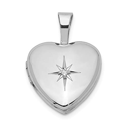 12mm Diamond Star Design Heart Shaped Locket in Sterling Silver Necklace - 20 Inch -
