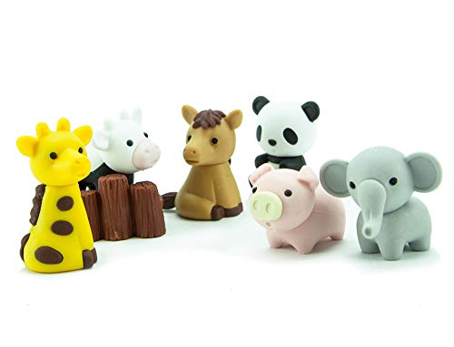 (Iwako Japanese Puzzle Take Apart Erasers Zoo Animals Set of 7)