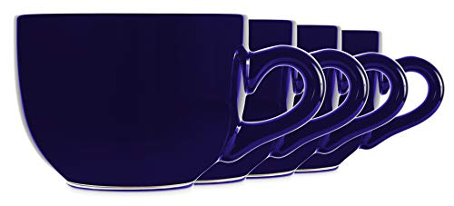 22oz Cobalt Ceramic Jumbo Bowl Mugs with Thick Walls, Handle, and Wide Mouth, Set of 4 by Serami