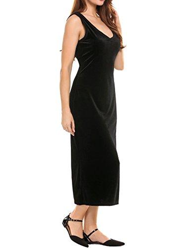 Sleeveless Midi Dress Velvet Neck keliqq Women's V Maxi Black Dress 4HnwIxU8q