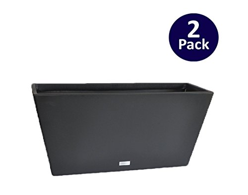 Veradek V-Resin Trough Planter - Black - 32 in. - 2 pack (Lightweight Trough Planters)