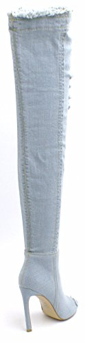SHU CRAZY Womens Ladies Denim Over The Knee Thigh High Zip Up Peep Toe Ripped Jeans High Stiletto Heel Boots - Z49 STONE WASH DENIM 4R5PdsfjR