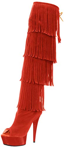 The Highest Heel Women's Amber 305 Thigh High Open Toe Microsuede Fringe Boot Over The Knee, Orange, 8 M US