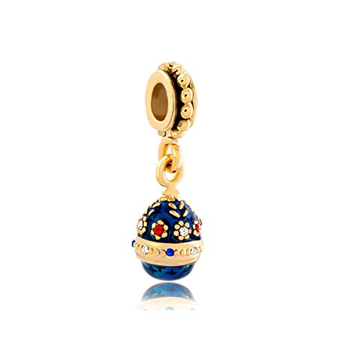 - LilyJewelry Flower Blue Easter Faberge Egg Dangle Charm Beads For Bracelets