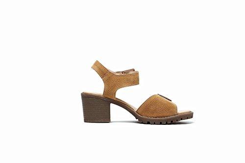Mee Shoes Women's Sweet Block Heel Mid Heel Buckle Sandals Shoes Brown OBhtcncJ