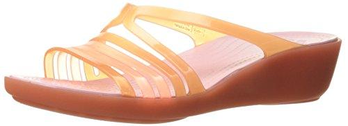 Crocs WoMen Isabellaminwdg Sandals, Black Smoke, 10 M US Coral