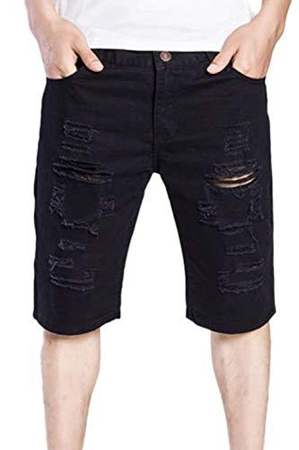 Jeans Rasgados De Los Hombres Pantalones Cortos Mezclilla Skinny De Pantalones Cortos Pantalones Cortos De Cher Pantalones Cortos De Mezclilla Destruidos Slim Fit Bermudas Pantalones Cortos Negro