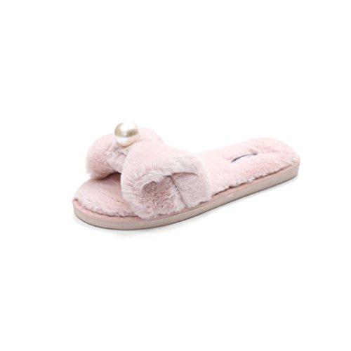 Claquette Rawdah Slipper Flop Tongs EU Chaussures Fausse Fluffy en Flip Fourrure Plat sur Diapositives Glissez Les Femme Rose 38 Sandal grArPd