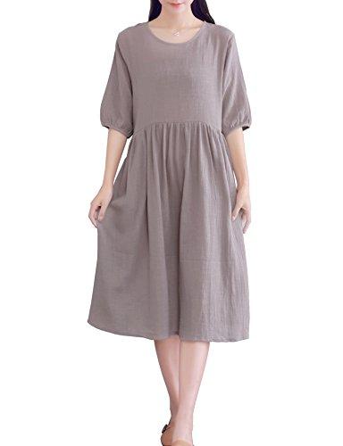 YUHEYUHE Women's Casual Loose Soft Clothing Short Sleeves Summer Cotton Linen Midi Dress