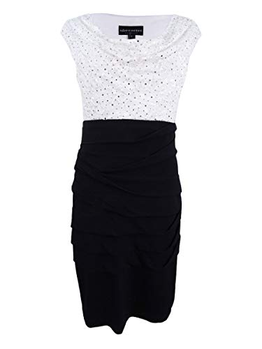 Connected Apparel Womens Matte Jersey Lace-Trim Cocktail Dress Black-Ivory 16