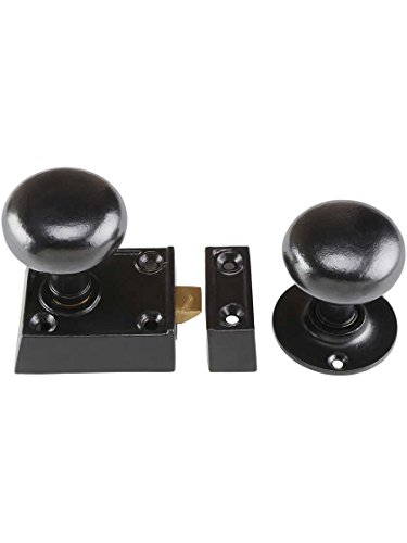 - House of Antique Hardware R-01HH-0160023-C153-MB Small Cast Iron Rim Latch Set with Round Iron Knobs in Matte Black
