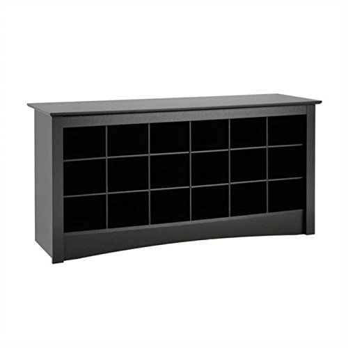 - Pemberly Row 18 Cubby Shoe Storage Bench in Black