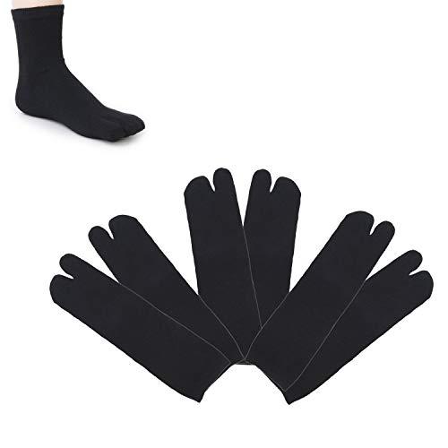 SunTrade 3 Pairs Japan Tabi Socks, Split 2 Toe Sandals Ninja Slipper Japanese Kimono Cotton Black