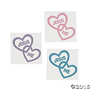 Amazon 144 inspirational jesus loves me temporary tattoos religious heart shaped tattoos sunday bible school favors gifts easter valentines day holildays teacher gifts party favors fundraising negle Gallery