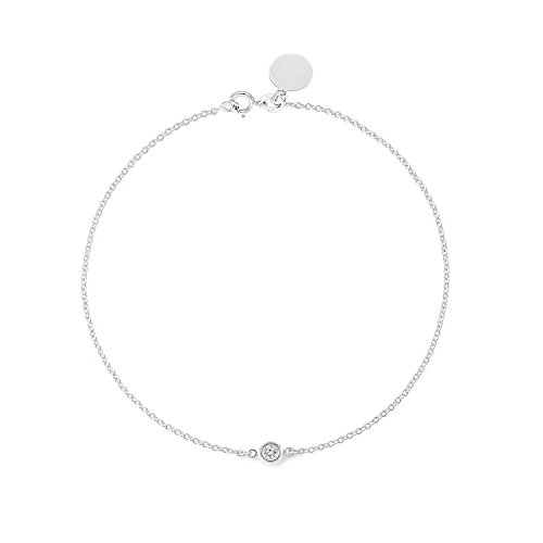 Tousi Solitaire Diamond Bracelet- Solid White Gold-14K or 18K -Dainty and Simple Solitaire Bezel Set - Free Engraving - Graceful Gift- Minimalist Jewelry 14k Vs1 Bracelet