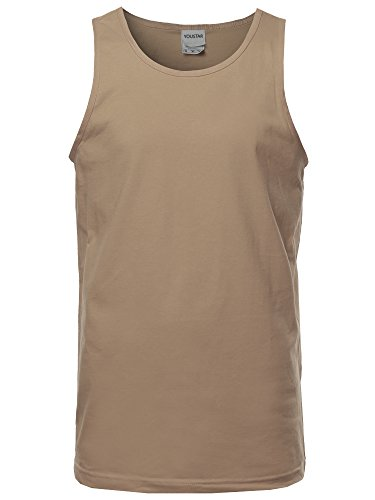 (Basic Solid Sleeveless Round Neck Tank Top Tan L )