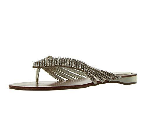 Nature Breeze Women's Kylie-09 Thong Sandals,Gold,8.5