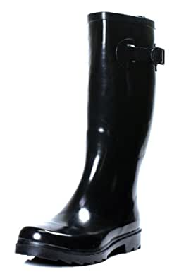 New Womens Rain Boots Size Wellies Flat Wellington Knee High Festival Welly Snow (6, Black)