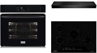 "Frigidaire 3-Piece Kitchen Package With FGIC3066TB 30"" Electric Cooktop, FGEW3065PB 30"" Electric Single Wall Oven and FHWC3025MB 30"" Under Cabinet Convertible Hood in Black"