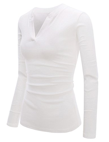 NEARKIN (NKNKWVT609) Womens Slim Cut Look V-neck Long Sleeve Fitted Cotton Tshirts WHITE US L(Tag size XL)