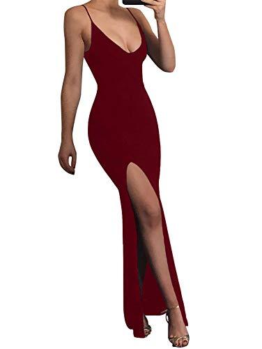 TOB Women's Sexy Spaghetti Strap V-Neck Sleeveless Backless Evening Long Dress Wine Red