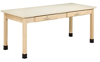 """Diversified Woodcraft PT-72P Solid Maple Wood Plain Planning Desk with Dovetailed Drawers, 72"""" Width x 30"""" Height x 30"""" Depth"""