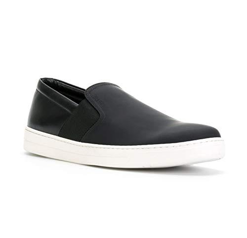 Prada Men's Vitello Rubberized Leather Slip-on Sneakers, Black-Antracite 4D2995 (11.5 US / 10.5 UK)