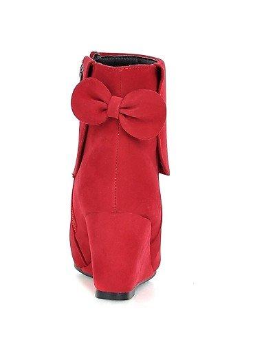 XZZ    Damenschuhe - Stiefel - Kleid   Lässig - Vlies - Keilabsatz - Wedges   Spitzschuh   Modische Stiefel - Schwarz   Gelb   Rot B01L1GS3GE Sport- & Outdoorschuhe Schön und charmant 5110af