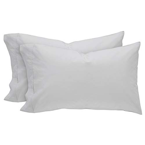 (Rivet Percale 100% Organic Cotton Pillowcase Set, Easy Care, Standard, White)