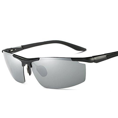 9 Mens polarizadas Gafas UV400 gafas macho TIANLIANG04 gafas polarizadas Black Silver Guía estilo negro aluminio colores gafas de sol reborde de de sin Fd6qwUxd