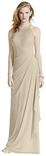 - David's Bridal Long Mesh Bridesmaid Dress with Illusion Neckline Style F15662, Champagne, 24