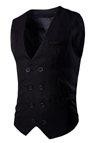 cheap Fulok Mens Formal Slim Fit Double-breasted Dress Business Suit Vest for cheap