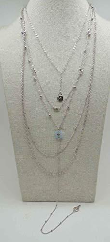 GUESS Collar de Cadena con Colgante de Capas de, Plata, Azul, Talla única