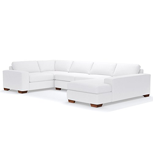 (Melrose 3-Piece Sectional Sofa, White, RAF - Chaise on Right)