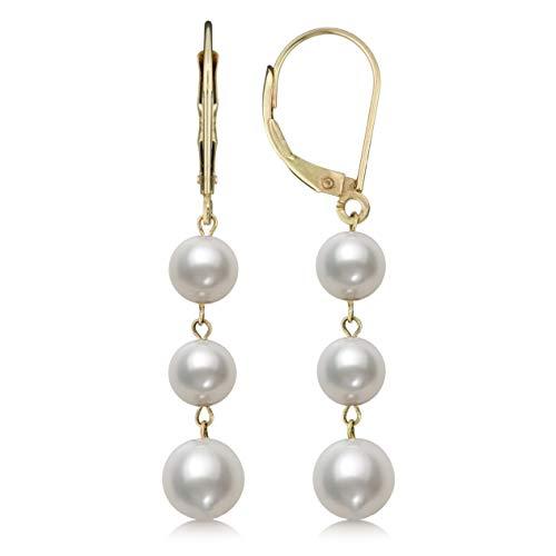 14K Yellow Gold White Cultured Freshwater Pearl Trio Dangle Drop Earrings