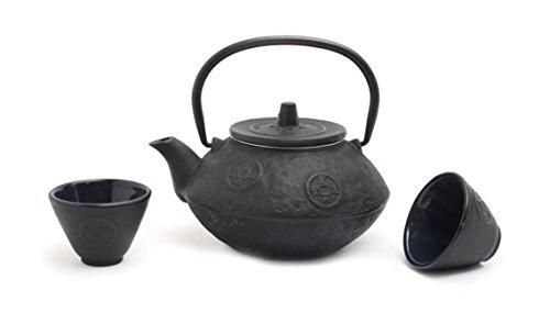 Guro Cast Iron Teapot and Cups Set Japanese Tetsubin Kettle Sigma 27oz / 0.8L (Black) ()