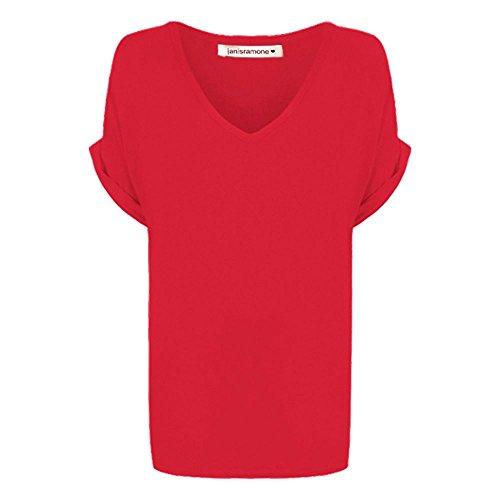 Janisramone mujeres holgado giro arriba tamaño flojo ajuste murciélago ala v manga corta cuello 8-20 Rojo