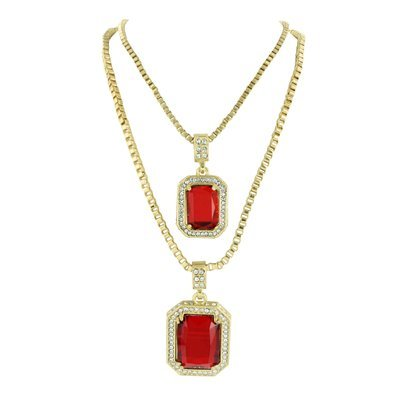 Garnet ruby pendants set free necklaces 14k gold finish lab garnet ruby pendants set free necklaces 14k gold finish lab diamond rapper wear mozeypictures Image collections