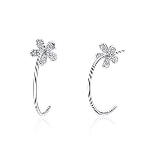 POPLYKE Small Hoop Earrings Daisy Flower Sterling Silver Stud Earrings for Women Girls 25mm