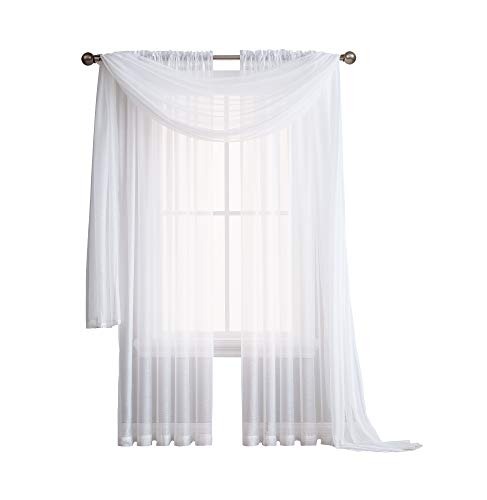 (ASATEX - Rod Pocket Semi-Sheer Window Curtains - 2 Pieces - Total Size 108