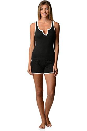 Black Shorty Pajamas - Casual Nights Women's Knitted Sleeveless Tank and Pajama Shorts Set - Black - Large