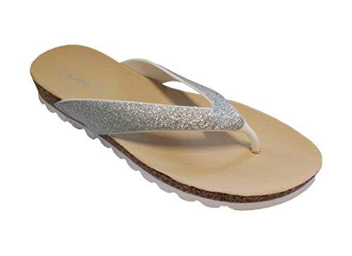 Y Baño Zehensteg Sintético Tacón Zapatillas Linea Plata Mujer strandschuh Scarpa Corcho Campbell Flip Con wxqwaF8f