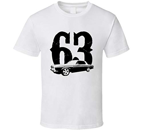 1963 Plymouth Fury Side View with Year Black Graphic T Shirt L White