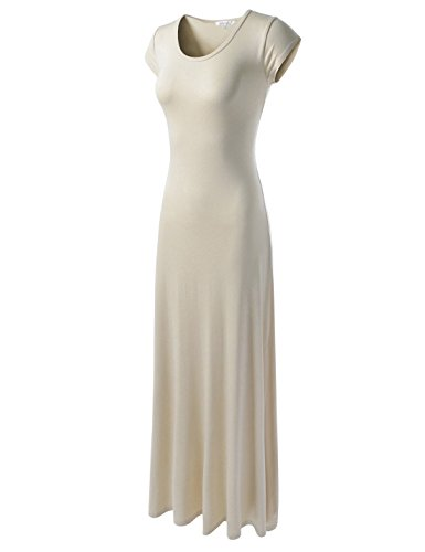NEARKIN (NKWLD04271 Casual Maxi Dress Slim fit Short Sleeve Sexy Long Dresses for Women Beige Medium(Tag Size L)
