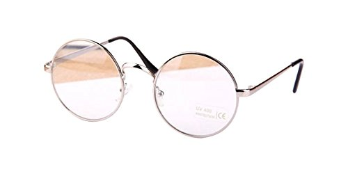 Silver Retro Big Round Metal Frame Clear Lens Glasses Designer Nerd Spectacles - Round Spectacles Big