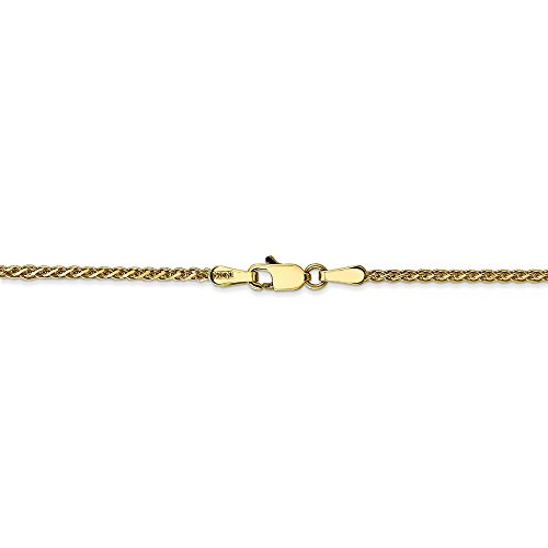 10k Yellow Gold 1.4 mm Diamond-Cut Spiga Chain Necklace - 20 Inch (Spiga Gold Chain Yellow)