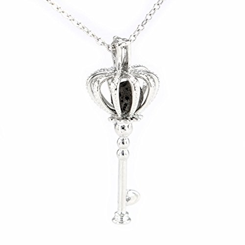 Sier Crown Key Aromatherapy Perfume Essential Oil Diffuser Necklace Locket Lava Stone (Black) (Sier Oil)